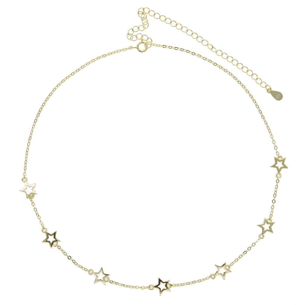 minimal minimalist 925 sterling silver jewelry thin link chain star charm simple geometric choker necklace