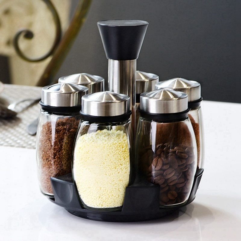 7Pcs/Set Rotating Stainless Steel Cruet Condiment Spice Jars Set Salt And Pepper Shakers Seasoning Sprays Kitchen Tool
