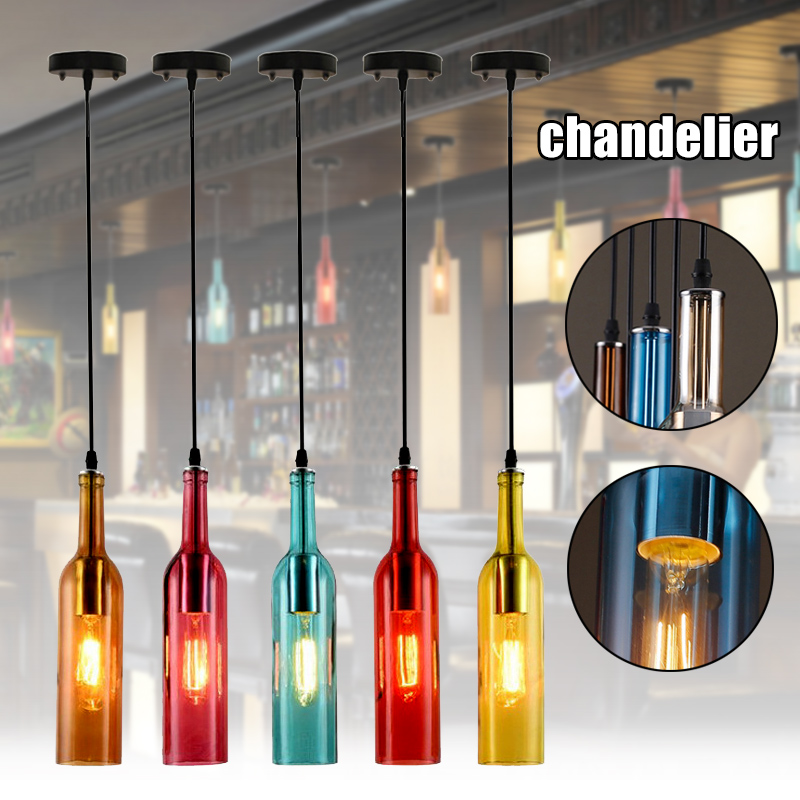 Vintage Industrial Colored Glass Pendant Light Wine Bottle Chandelier For Cafe Loft Restaurant  TN99