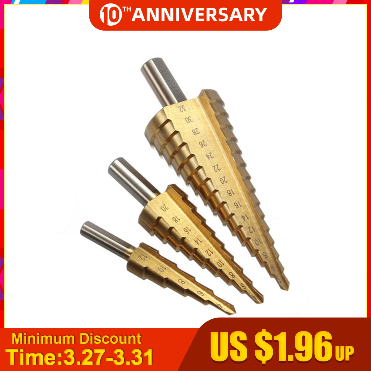 4-12/20/32mm HSS Drill Bit Steel Step Cone Titanium Coated Set Hole Cutter Taper Metric Cone Drill Mini Drill Accessories