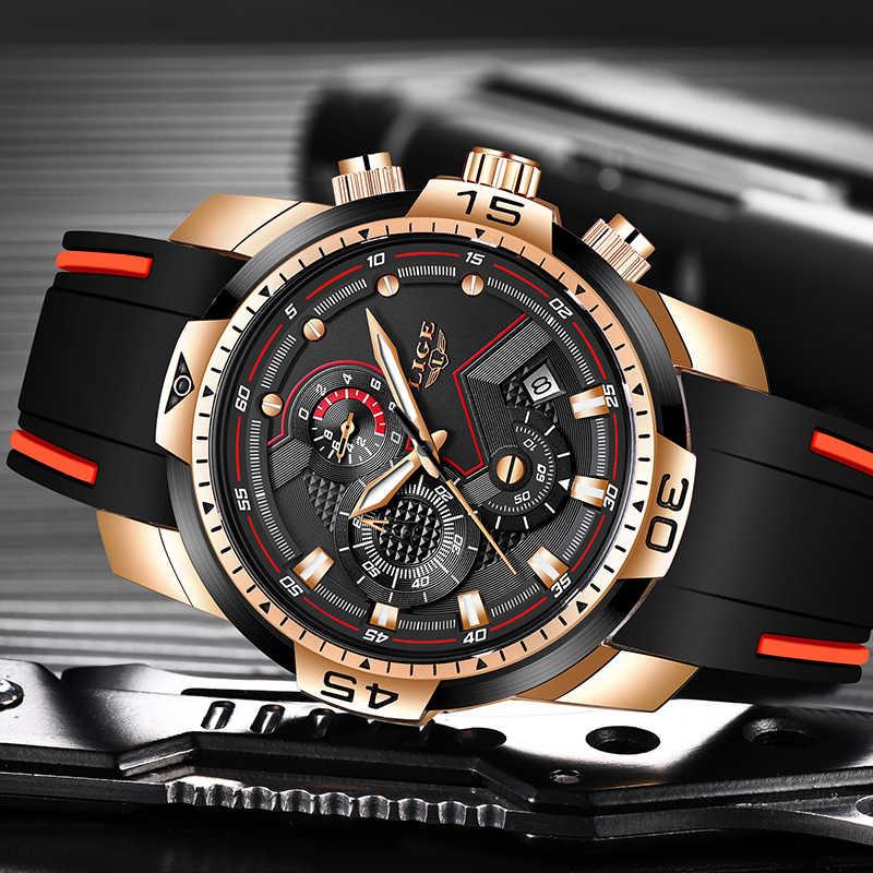 שעונים Mens 2019 ליגע אופנה יוקרה למעלה מותג Mens עסקי סיליקון צבאי עמיד למים תאריך חיוג גדול שעון Relogio Masculino