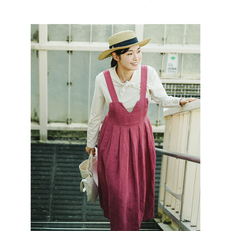 INMAN 2020 Autumn New Arrival Artsy All Match Linen and Cotton V Neck Loose Style Women Suspender Dress