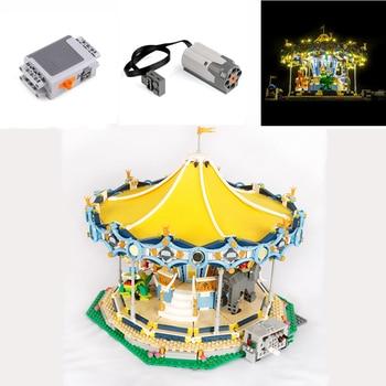 In Stock Street View The New Carousel with light motor 15036 2705Pcs Set Children Building Blocks Bricks Boy Toys Model 10257