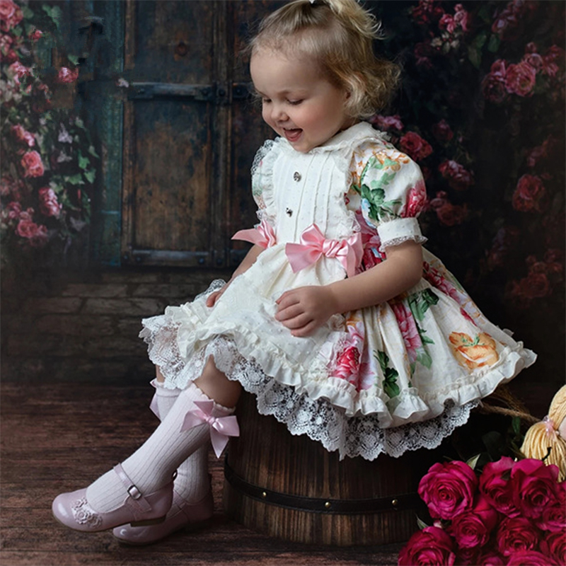 Children Boutique Spanish Floral Dresses For Girls Turkey Vintage Style Baby Frocks Infant Christening Gown Toddler Vestido