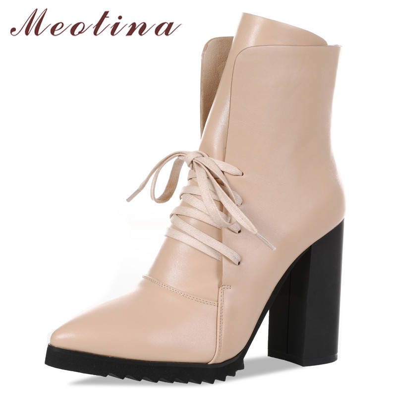 Meotina Short Boots Pointed-Toe Shoes Chunky High-Heels Female Autumn Winter New Fashion