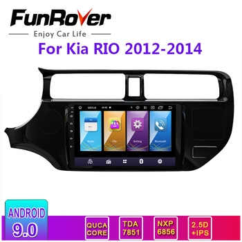 Funrover 2 Din 2.5D+IPS Android 9.0 Car GPS Multimedia Player For KIA Rio 2012 2013 2014 2015  Car Radio Stereo dvd Player RDS