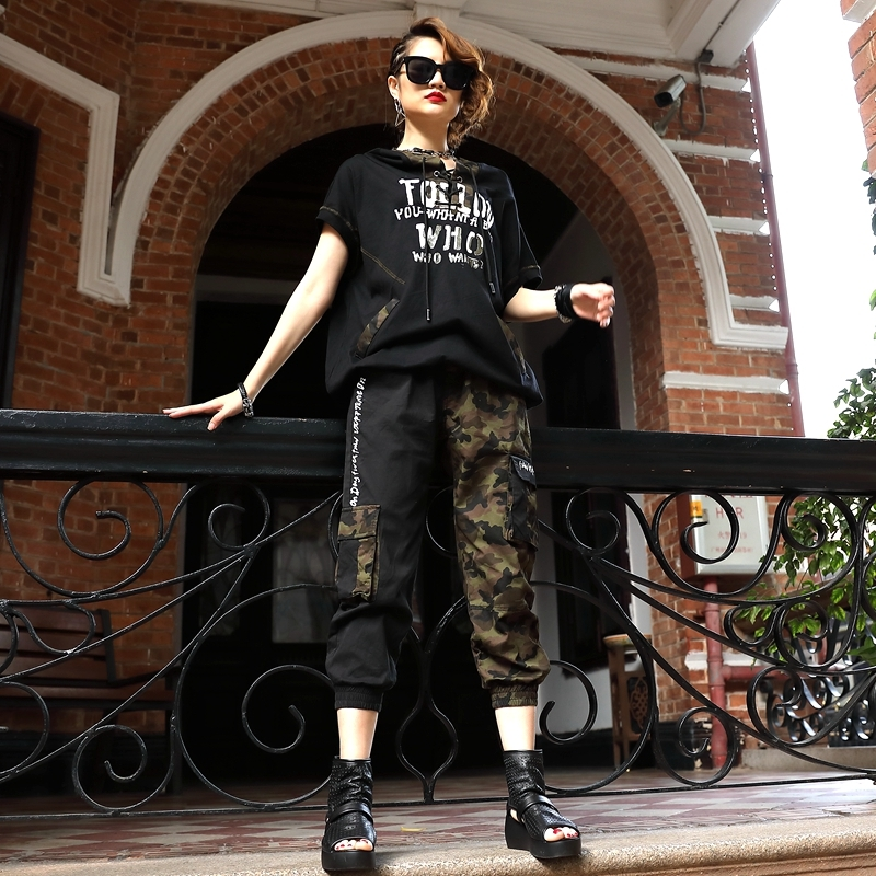 Summer New High Quality Hip Hop Style Lace Up Hooded Short Top Calf Length Pants Camouflage Patchwork Loose Women Two Piece Sets