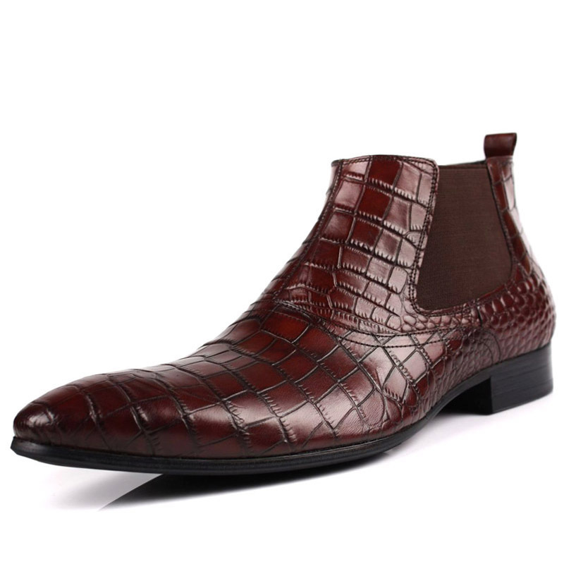 2021 Brand Flat Wine Red Chelsea Boots Mens Wine Red Leather Zip Shoes Fashion Printed Crocodile Skin Cowboy Ankle Boot Size 44