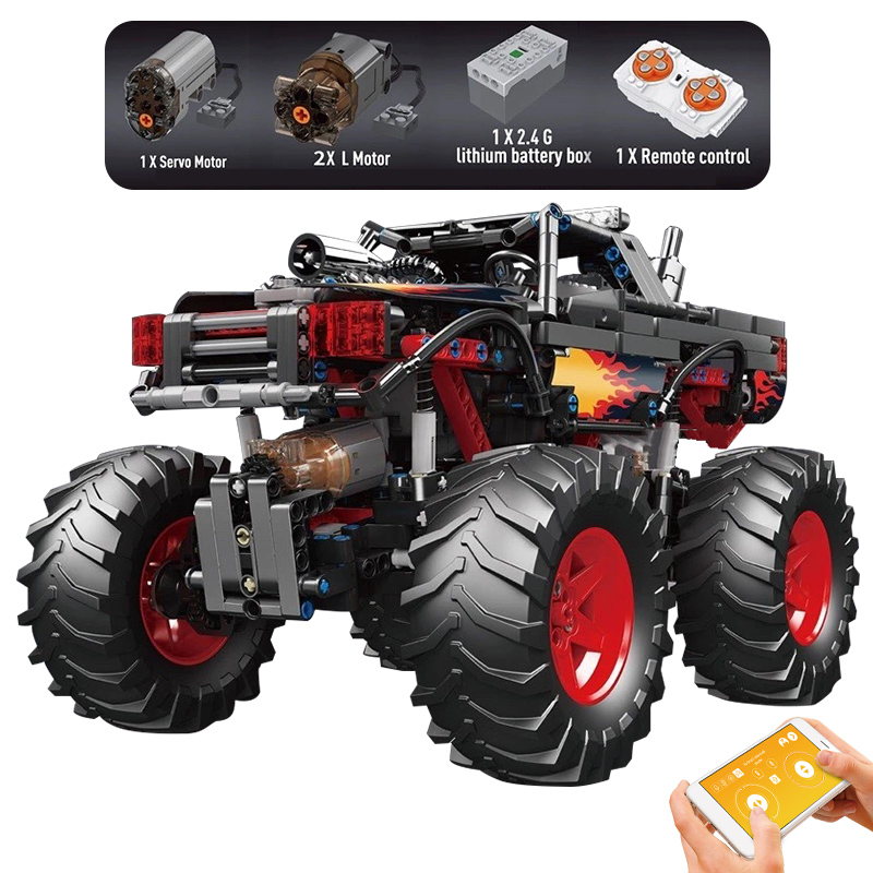 MOULD KING 18008 The APP RC Motorized Flame Climbing Truck Model Building Blocks