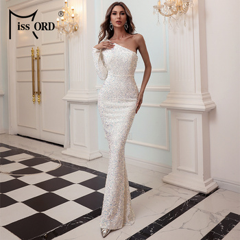 Missord 2020 Women Irregular Neck One Shoulder Evening Party Dress Female Elegant Sequin Bodycon Dress Female Maxi Dress FT20224 missord 2020 women sexy deep v neck backless sequin dress women sleeveless maxi dress bodycon evening party dress vestido m0449