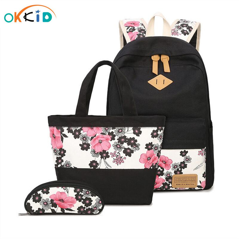 3 Pcs School Bags For Girls Chinese Style Floral Printing Backpack Girl Schoolbag Flower Bag Ethnic Backpacks For Teenage Girls
