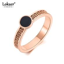 Lokaer Original Design Black Acrylic Anniversary Rings Jewelry For Women Trendy Rotatable Titanium Stainless Steel Ring R19091