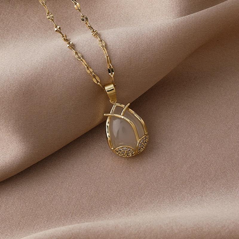 2021 Южная Корея Новая мода темперамент ожерелье с подвеской простое Универсальный тюльпан ключица цепочка Ожерелье для женщин ювелирные из...