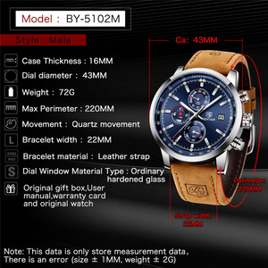 Image 5 - Benyar 2020 Nieuwe Blauwe Mannen Horloges Top Merk Luxe Waterdichte Sport Quartz Chronograaf Militaire Horloge Mannen Klok Relogio Masculino