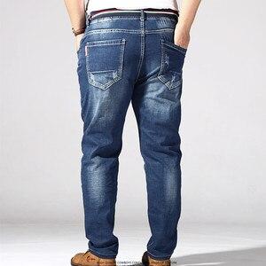 Image 5 - Grande taille Jean hommes 6XL 7XL 8XL 180KG vêtements pantalon Homme Stretch droit pantalon ample Denim bleu Plus Jean marque déchiré pantalon