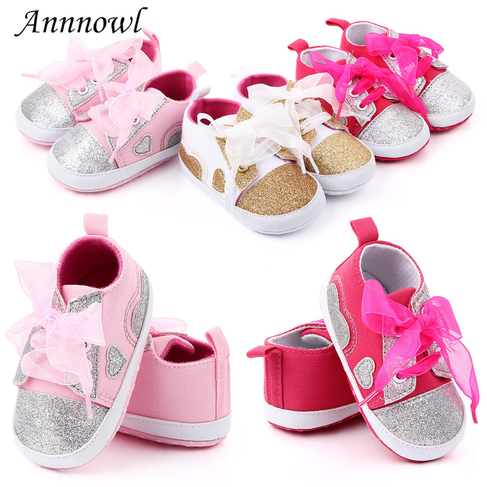 Brand Baby Girl Shoes Anti-slip Soft Sole Bling Lace-up Walking Toddler Crib Shoes Newborn Footwear Infant For 1 Year Old Girls