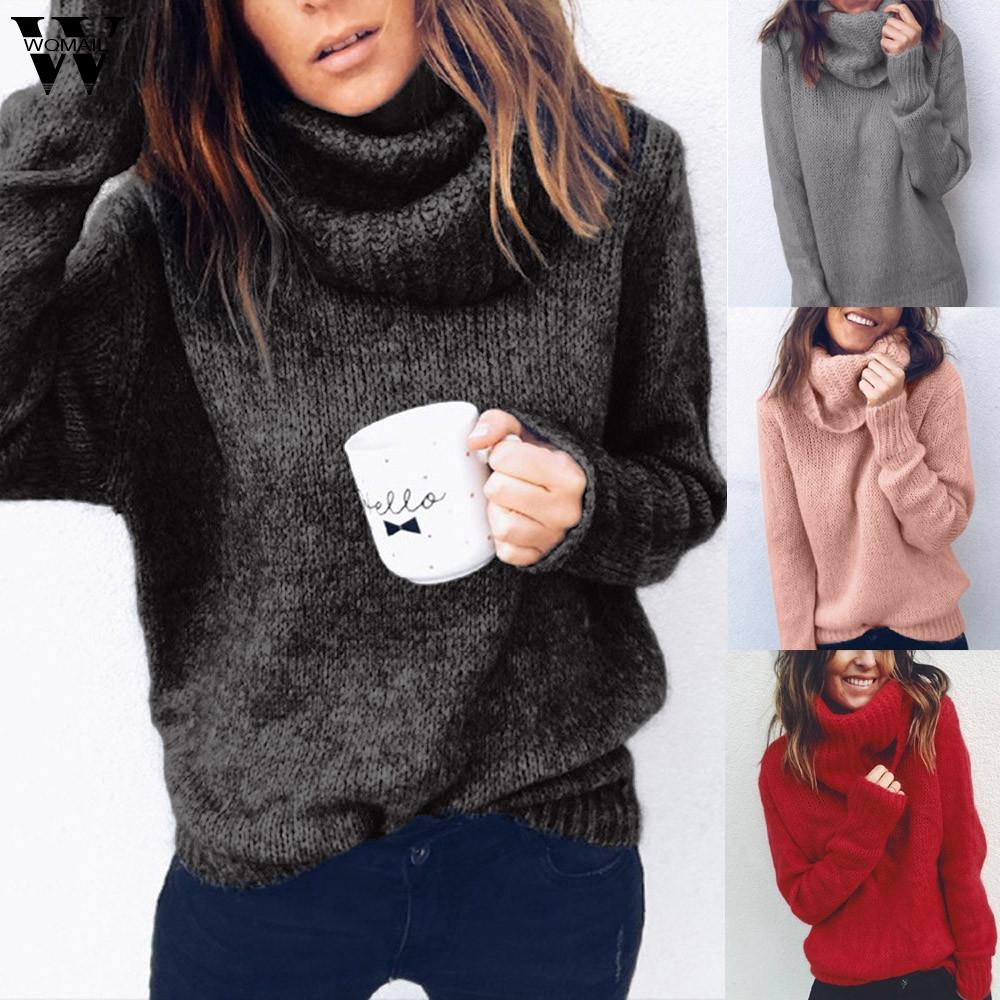 Womail 2020 sweater Women's NEW Autumn Winter Solid Long Sleeve Turtleneck Knitted Jumper Pullover Personality Sweater Knitwear