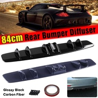 Universal 84cm Car Rear Bumper Lip Diffuser Spoiler Splitter Shark Fin Style Curved For Benz For Audi For Ford