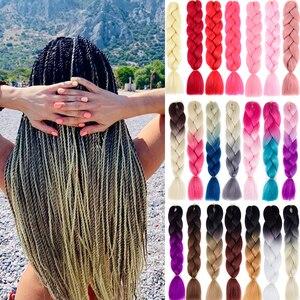 Colorful Braiding Hair Syntetic Braids Kanekalon Jumbo Ombre Hair Extension Braids Black Pink Red Braiding Hair Crochet Braids(China)