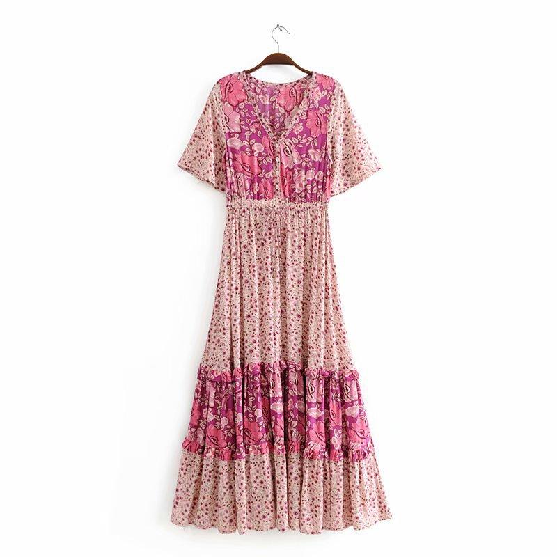 Nyp-8226 Ethnic-Style Skirt 2018 WOMEN'S Dress V-neck Cotton Positioning Printed Elastic Waist Big Hemline Dress