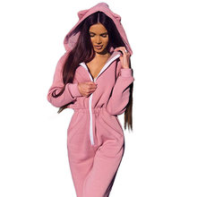 2019 Winter Women Bodysuit Long Sleeve Hooded Jumpsuits for Women 2019 Womens Jumpsuit Pink High Waist Plus Size Rompers(China)