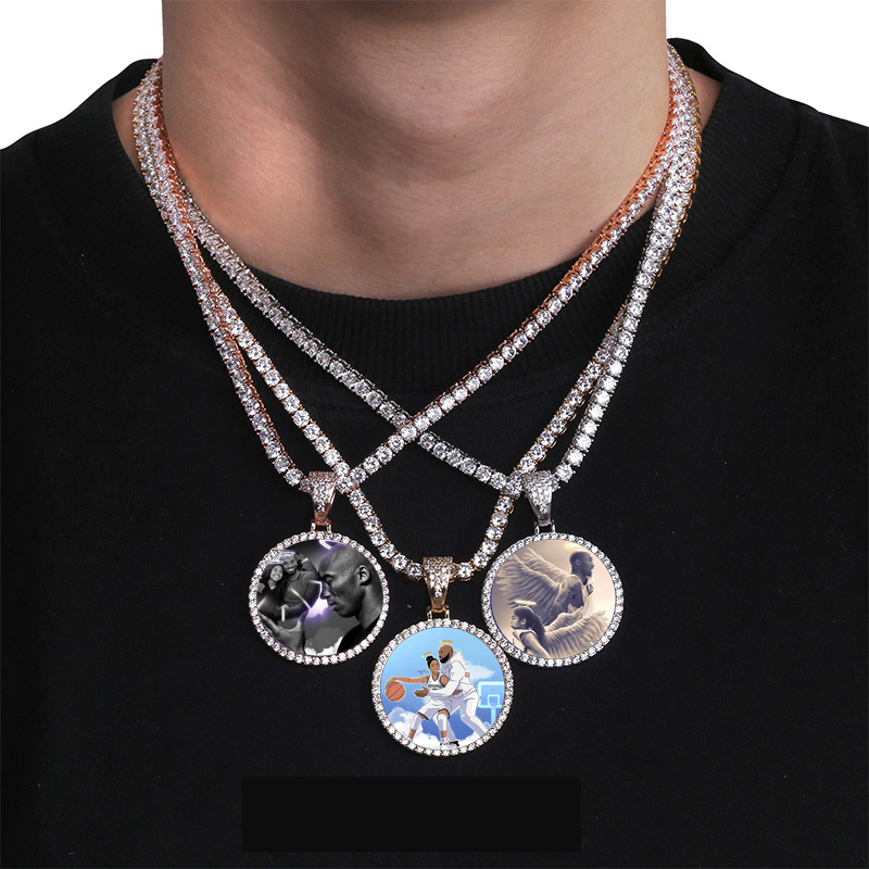 Custom Photo Memory Medallions Solid Pendant Necklace With Tennis Chain Hip Hop Jewelry Personalized Cubic Zircon Chains Gift 4