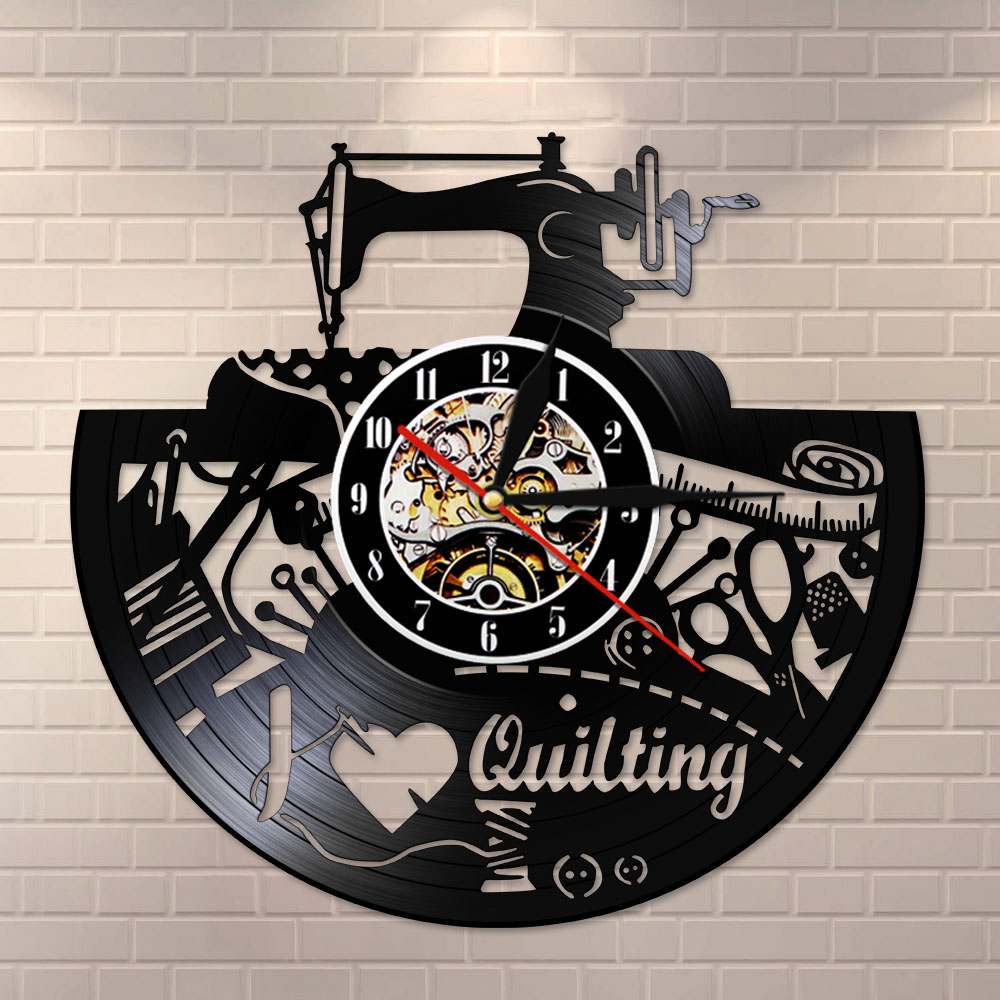 I Love Quilting Sewing Machine Tailor Shop Modern Design Home Decor Wall Hanging Decor Sewing Tools Vinyl Record Clock Watch