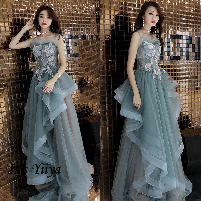 It's Yiiya Crepe Formal Dress Boat Neck Appliques Sleeveless Formal Dress Women Elegant A-Line Ruched Evening Dress 2020 K304