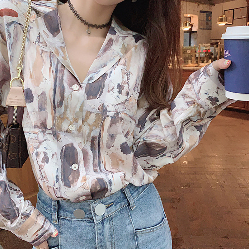 MISHOW 2019 Autumn Vintage Painting Printing Blouse Women Causal OLstyle Standing Collar Shirt Tops MX19C4767