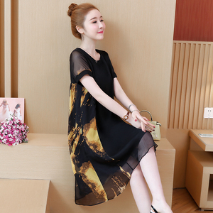 Image 3 - L 5XL Office Lady Party Loose o neck short Sleeve Plus Size Summer Yellow Red Black Elegant Woman Cocktail Dresses