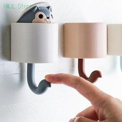 Kreative Wohnkultur Cartoon Tier Eichhörnchen Kopf Versteckt Lagerung Bad Küche Hängen Haken Einfügen Wand Haken Kinder Geschenk