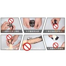 Vibrating Penis Sleeve Reusable Condoms Dildo Extender Enhancer Sleeves Adults Sex Toys for Men Delay Ejaculation Cock Ring