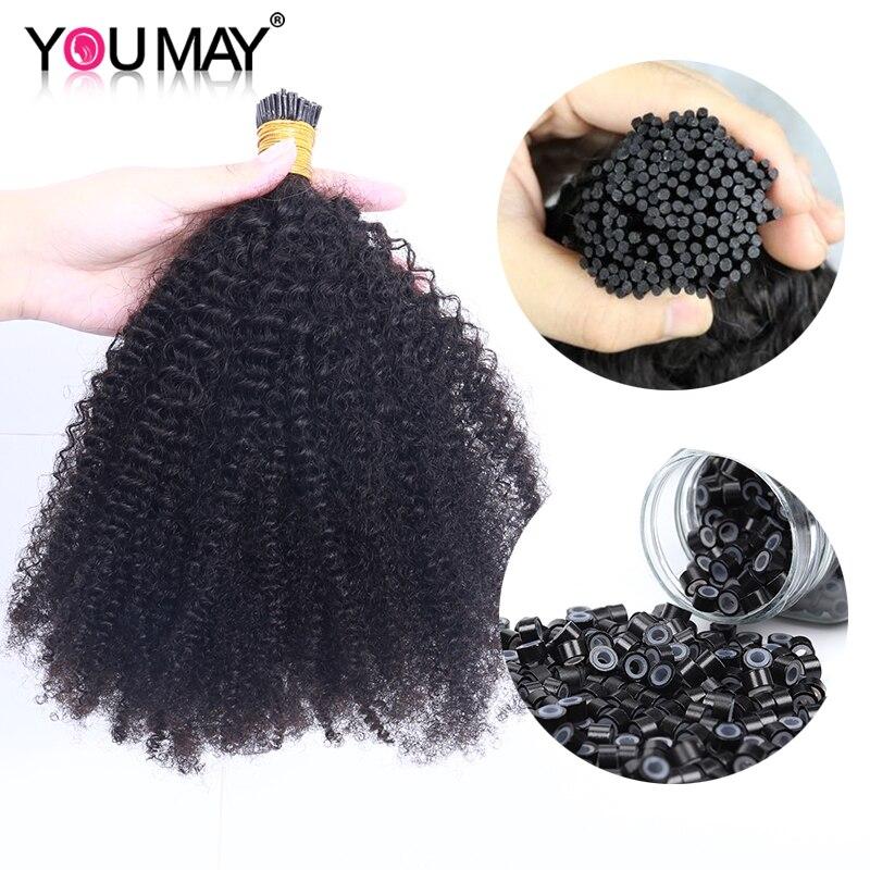 Afro Kinky Curly Human Hair 4B 4C I Tip Microlinks Hair Extensions Peruvian Virgin Hair Bulk For Black Women You May