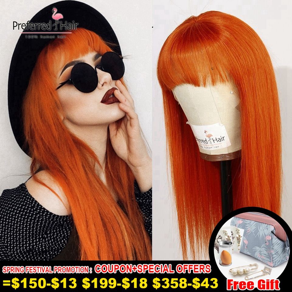 Preferred Red Orange 13x6 Lace Front Wig With Bangs Brazilian Remy Straight Pink Human Hair Wig Transparent Lace Wigs For Women