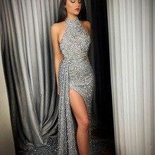 BacklakeGirls Новое поступление сексуальное, с ремешком вокруг шеи без рукавов Сплит Сторона неправильное блестящее вечернее платье длинное вечернее платье Mariage