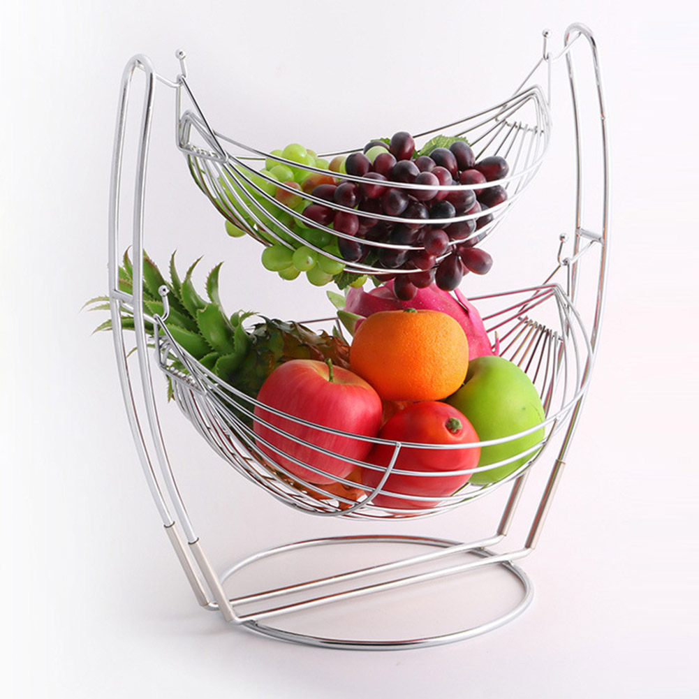 Double-deck Removable Fruit Basket Durable Large Capacity Fruit Stand Holder Plate Rack Home Decorative
