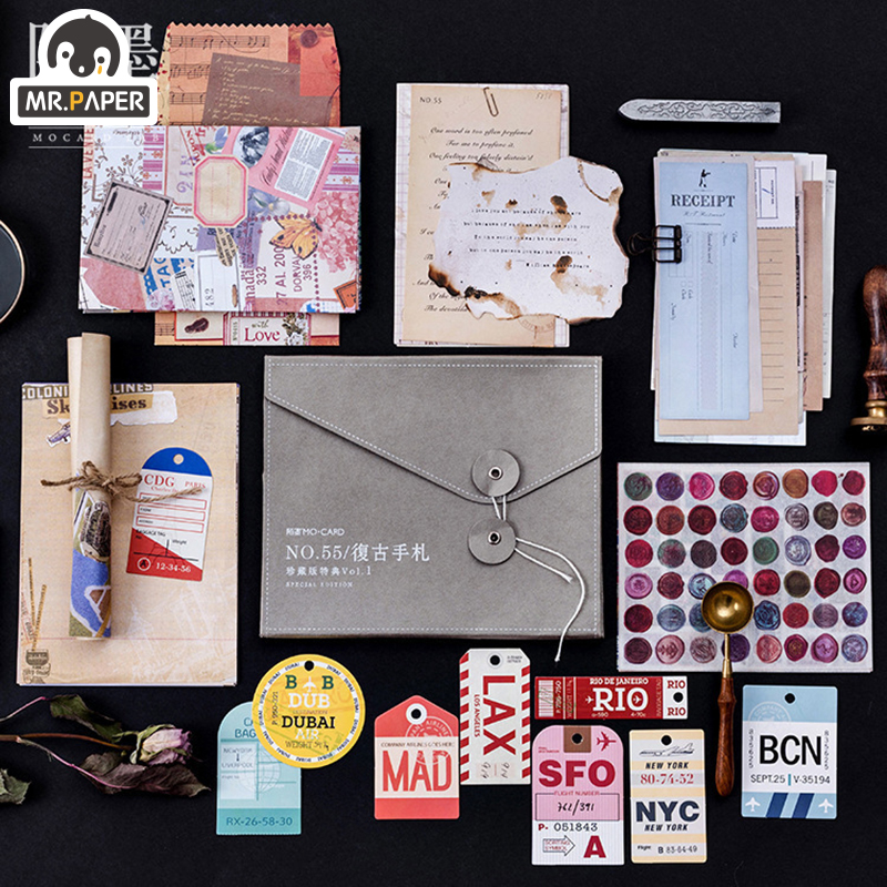 Mr.paper 55pcs/lot Personal Letter Kraft Card Journaling Bullet DIY Scrapbooking Material Card Retro Hangtag With Hole LOMO Card
