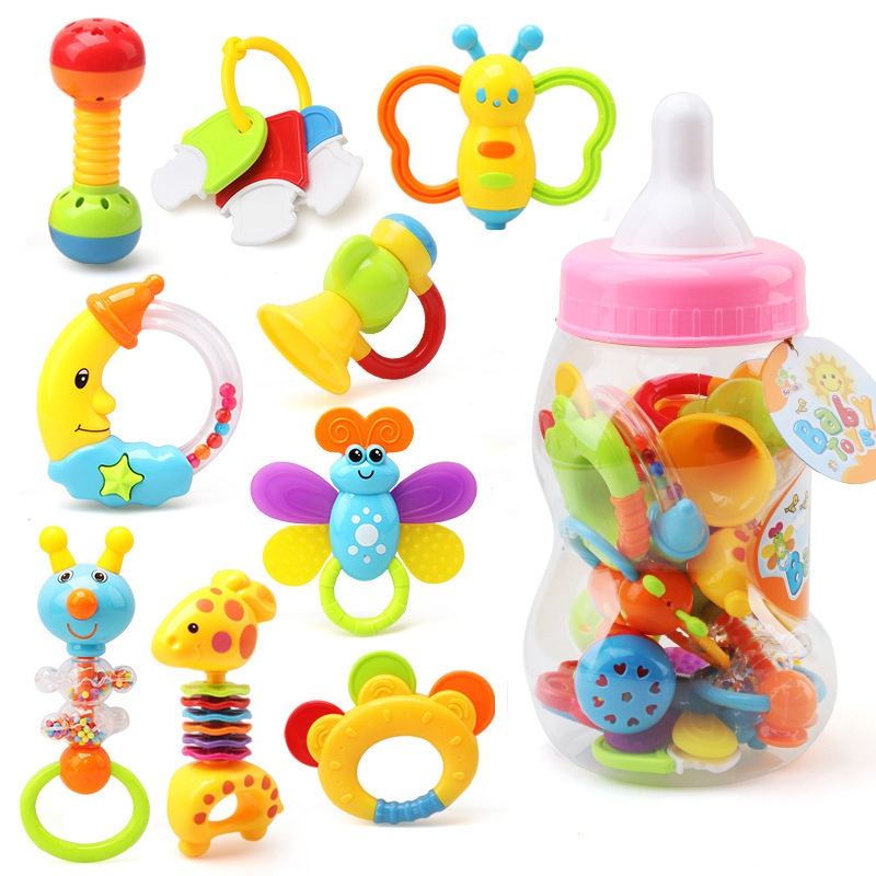 Infant Rattle Teething Baby Toys Bottle Storage Shake Baby Hand Development Teethers Toy Set Newborn Toddler For Children Pink