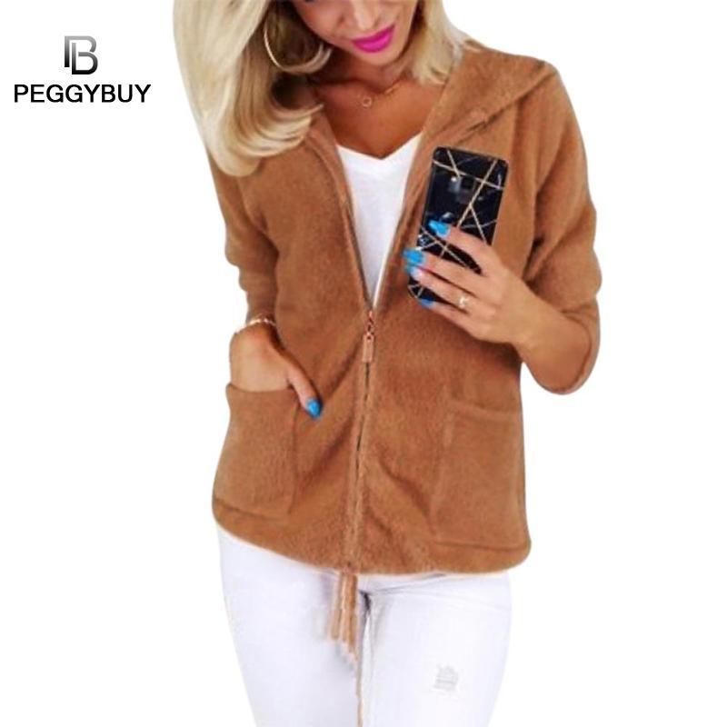 Women Hoodie Zipper Long-Sleeves Jacket Solid Color Thicken Fleece Coat Warm Jacket Warm Women's Track Suit Harajuku