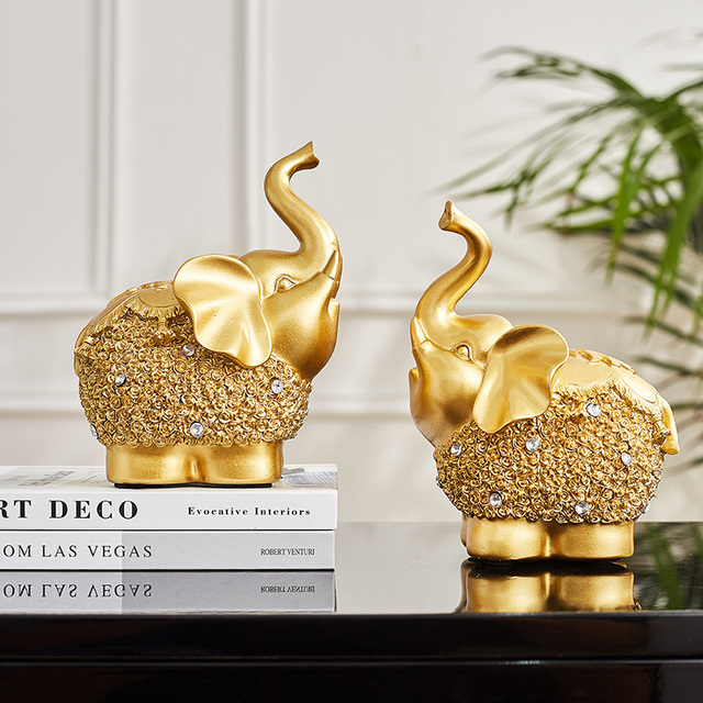 Chinese Feng Shui Golden horse Elephant statue decoration success  home crafts Lucky Wealth Figurine office desk Ornaments Gift 4