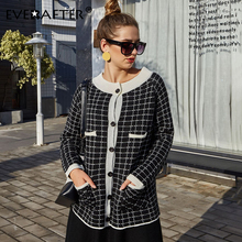 EVERAFTER Elegant plaid knit coat women buttons pocket autumn winter loose Casual streetwear blend coat tops ladies overcoats plaid loose fitting pocket design coat