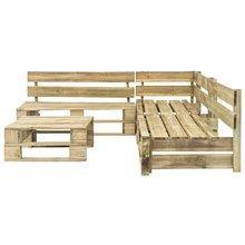 Ensemble de salon de jardin composé de palettes, mobilier d'extérieur en bois, idéal pour se détendre, 220x176x55 cm (l x D x H), 4 pièces