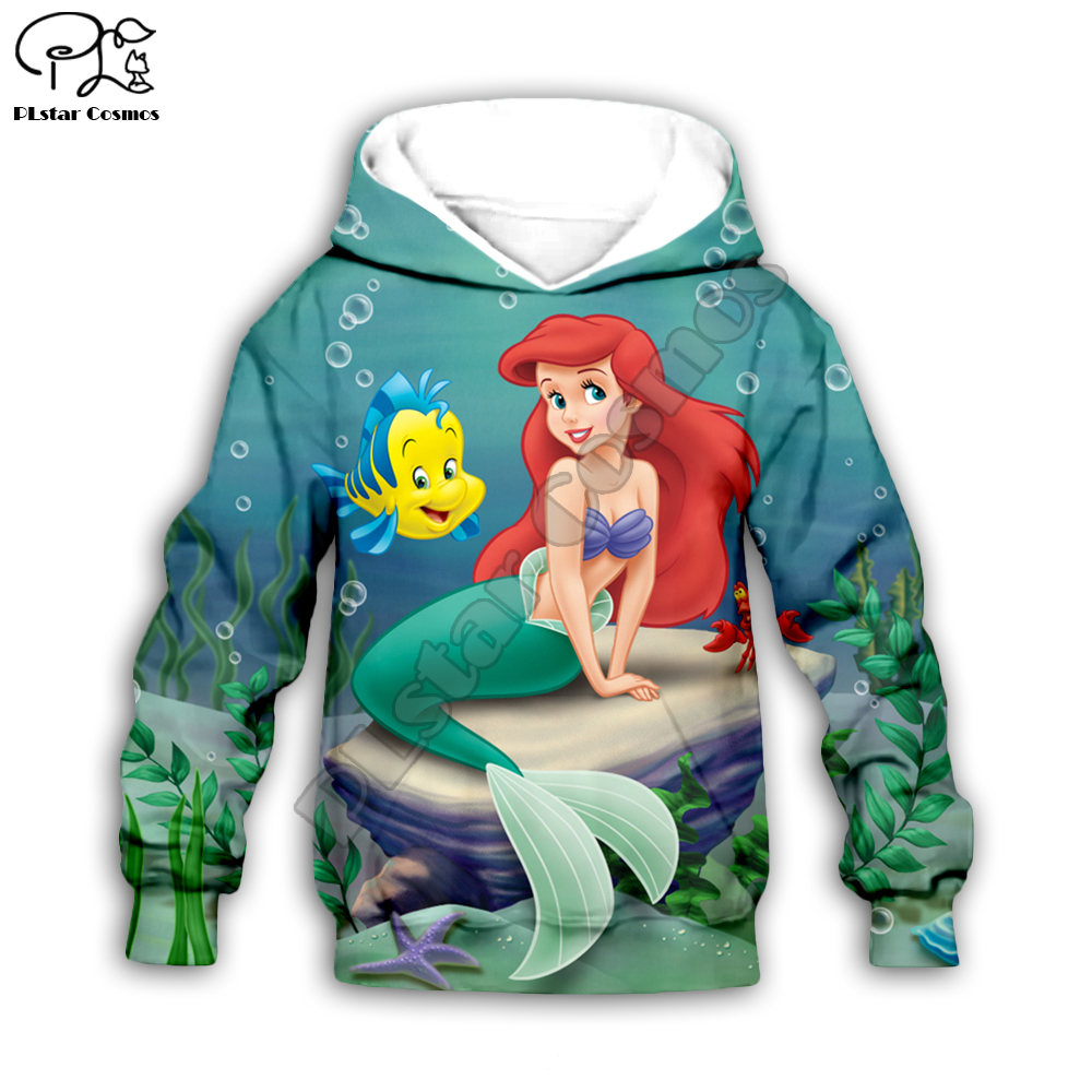 Kids Hoodie Baby Boy Girl 3D Mermaid Ariel Print Children Cloth Zipper Coat Long Sleeve Sweatshirt Cartoon Pullover Tshirt Pant