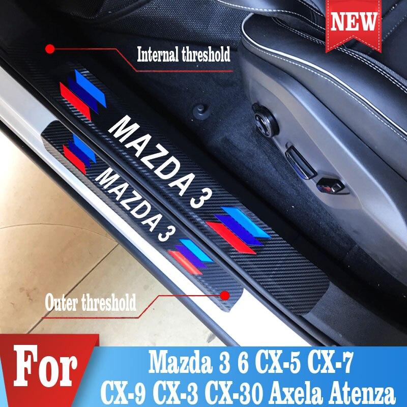 Autocollants de seuil de porte de voiture de sport pour Mazda 3 CX-5 autocollant de Fiber de carbone de voiture 4 pièces/ensemble