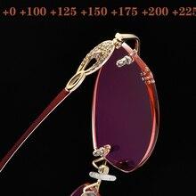2019 New Reading Glasses Diamond rimming lens Superior Quality Rimless Women Sun glasses Gafas Frame