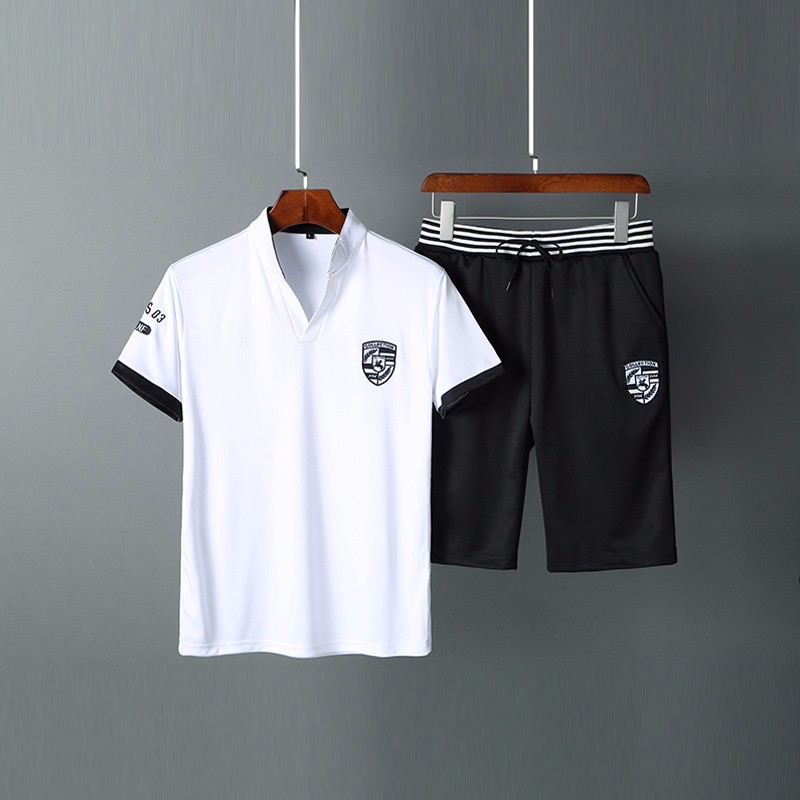 2019 Summer Short-sleeved Set Men's Casual T-shirt Sportswear Men Fifth Pants Shorts Casual Trend Two-Piece Set