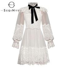 SEQINYY プリンセスドレス 2020 夏春の新ファッションデザインロングランタンスリーブメッシュ花レースドットフリル女性ミニドレス