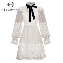 SEQINYY Princess Dress 2020 Summer Spring New Fashion Design Long Lantern Sleeve Mesh Flower Lace Dot Ruffles Women Mini
