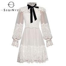 SEQINYY robe princesse à volants, Design à la mode, manches longues lanternes, fleur en maille, pois, robe femme, été 2020
