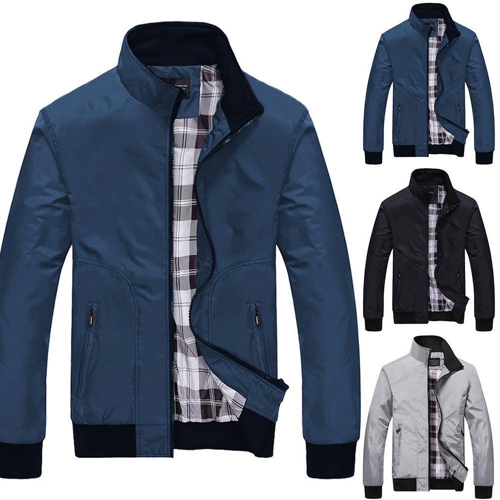 Winter Jacket Men Bomber Jacket Fashion Contrast Color Casual Stand Collar Long Sleeve Baseball Uniform Jacket Coat
